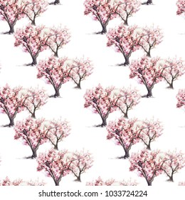 Seamless pattern watercolor series of blooming pink sakura trees