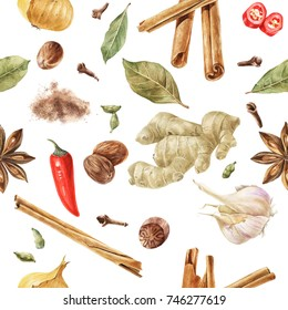 Seamless pattern with watercolor spices - cinnamon, ginger, onion, garlic, chili pepper, anise star, nutmeg, cardamom and cloves