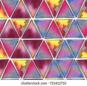 Seamless pattern watercolor triangle background.