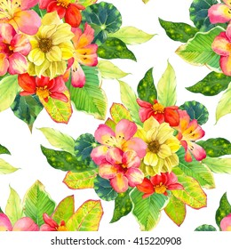 Seamless pattern with watercolor tropical flowers on white background. Botanical illustration with with dahlia, lily, begonia, palm and croton leaves.