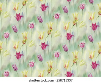 Seamless pattern: watercolor tulips