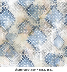 Seamless pattern wild design. Snakeskin background with watercolor effect. Textile print for bed linen, jacket, package design, fabric and fashion concepts
