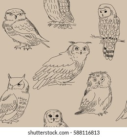 Seamless pattern with wild forest owls on a beige background.
