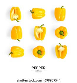 Seamless pattern with yellow pepper. Vegetables abstract background. Pepper on the white background.