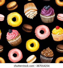 Seamless pattern with yellow and pink doughnuts, chocolate, strawberry and caramel macarons and colorful cupcakes with berries on black background