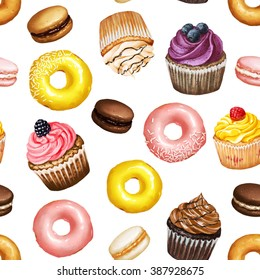 Seamless pattern with yellow and pink doughnuts, chocolate, strawberry and caramel macarons and colorful cupcakes with berries on white isolated background