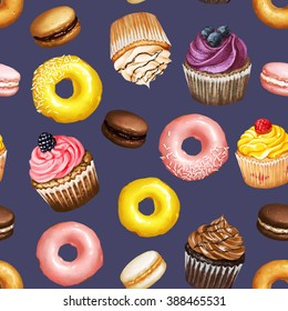 Seamless pattern with yellow and pink doughnuts, chocolate, strawberry and caramel macarons and colorful cupcakes with berries on blue background