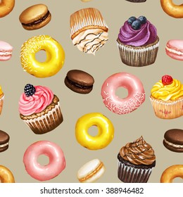 Seamless pattern with yellow and pink doughnuts, chocolate, strawberry and caramel macarons and colorful cupcakes with berries on beige background