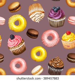Seamless pattern with yellow and pink doughnuts, chocolate, strawberry and caramel macarons and colorful cupcakes with berries on purple background