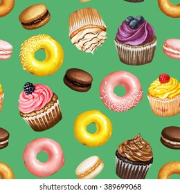 Seamless pattern with yellow and pink doughnuts, chocolate, strawberry and caramel macarons and colorful cupcakes with berries on green background
