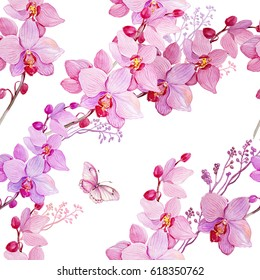 seamless pattern,watercolor hand painting. Flowers orchids and butterflies .print for fabric ,textile