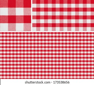 Seamless picnic pattern 1500x1500 with samples. Good for red checkered tablecloth creation of any size.