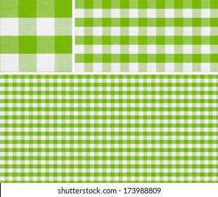 Seamless picnic pattern 1500x1500 with samples. Good for green checkered tablecloth creation of any size.