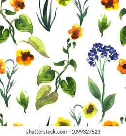 Seamless plants pattern. Floral decorative illustration.