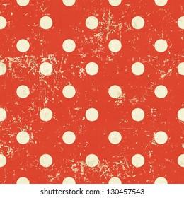 Seamless polka dot pattern on red paper grunge background