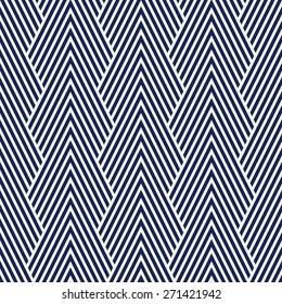 Seamless porcelain indigo blue and white art deco optical chevron mountains pattern
