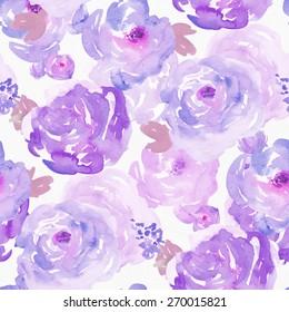 Seamless Purple Painted Flowers Background Pattern.