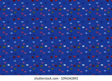Seamless raster background with blue, black and purple hearts. Love, wedding, Valentines day design.