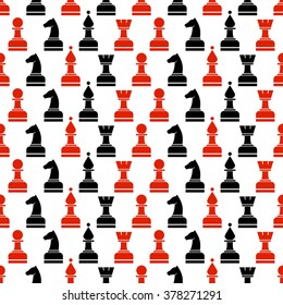 Seamless raster chaotic pattern with black and red chess pieces on the whitebackground. Series of Gaming and Gambling Patterns.