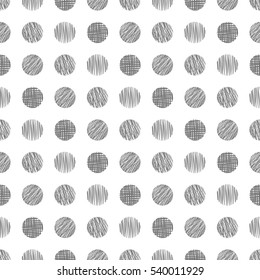 Seamless raster geometrical pattern with circle. Grey  endless background with  hand drawn textured geometric figures. Graphic  illustration Template for wrapping, web backgrounds, wallpaper.