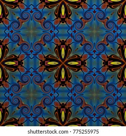 Seamless raster pattern in Arabic style Flower psychedelic mosaic Template for wallpaper, backgrounds, decor for tapestries