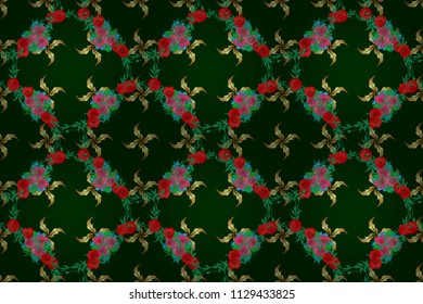 Seamless raster pattern in blue, green and red colors. Floral background.