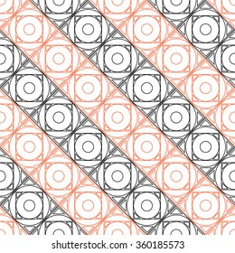 Seamless raster pattern. Symmetrical geometric background with black and red squares on the white backdrop. Decorative repeating ornament.