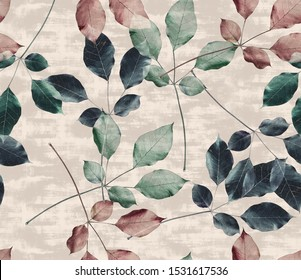 Seamless Realistic Leaves and Branches With Trendy Colors Allover Print Design perfect for interior, furniture and fashion Poplar Tree
