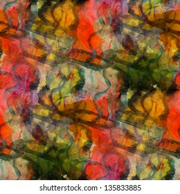 seamless red, yellow cubism abstract art Picasso texture watercolor wallpaper background