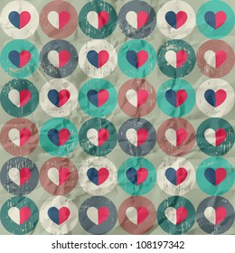 Seamless retro pattern. Texture with threadbare circles and hearts.