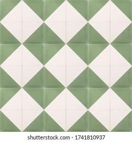 Seamless rhombus diamond shaped floor and wall tile texture in jade green