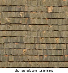 Seamless roof texture consisting of worn, flat shingles in dark green tone.