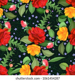 Seamless rose pattern.  illustration
