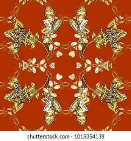Seamless royal luxury golden baroque damask vintage. Seamless pattern with gold antique floral medieval decorative, leaves and golden pattern ornaments on orange, brown and yellow colors.