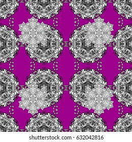 Seamless royal luxury white baroque damask vintage. Seamless pattern with white antique floral medieval decorative, leaves and white pattern ornaments on magenta background.