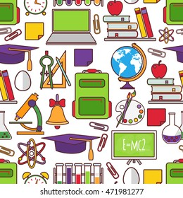 Seamless school tools background. Kids drawing style illustration