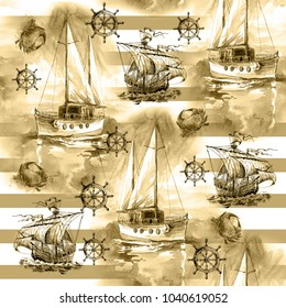 Seamless sea texture with ships,  handwheels and stripes drawn by hand. Sailing ship and summer.