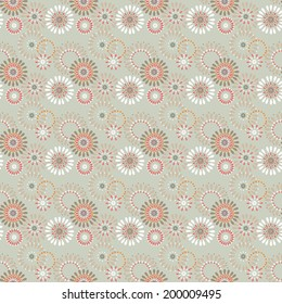 Seamless simple pattern with circles on beige background