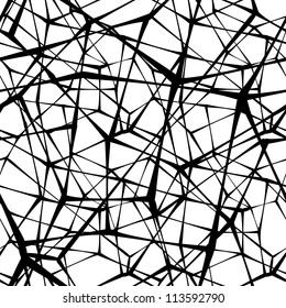 Seamless spider web. Connected black lines on white background. Vector version is in my portfolio