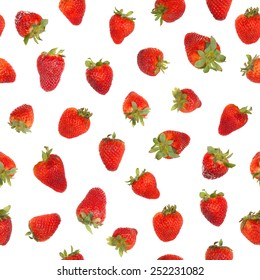 Seamless strawberry pattern, isolated on white background