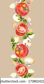 Seamless stripe border with vegetables - tomato, garlic - and mushrooms