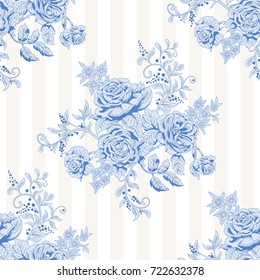 Seamless striped background with a bouquet of french roses. Vintage style.