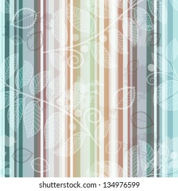 Seamless striped pattern with translucent leaves in grunge style