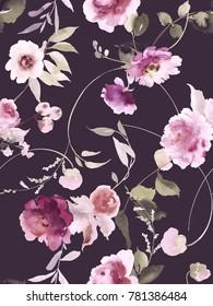 Seamless summer pattern with watercolor flowers handmade. Dark background