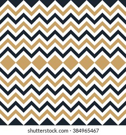 Seamless tan blue and brown interchanging zigzag chevron pattern