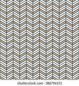 Seamless tan blue and brown interchanging chevrons pattern
