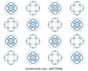 Seamless texture with 3D rendering abstract fractal blue pattern on a white background for fabric swatch