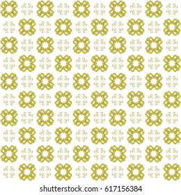 Seamless texture with 3D rendering abstract fractal yellow pattern on a white background for fabric design
