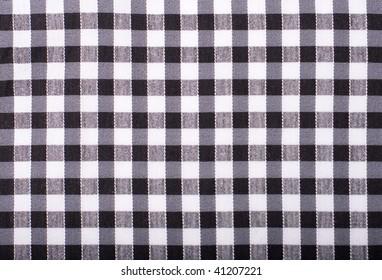 seamless texture of black and white blocked tartan cloth