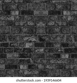 Seamless texture Brick Stone Black Grey color. Tiling clean for background pattern. Rectangle mosaic tiles wall high resolution. Old or artificially aged in production